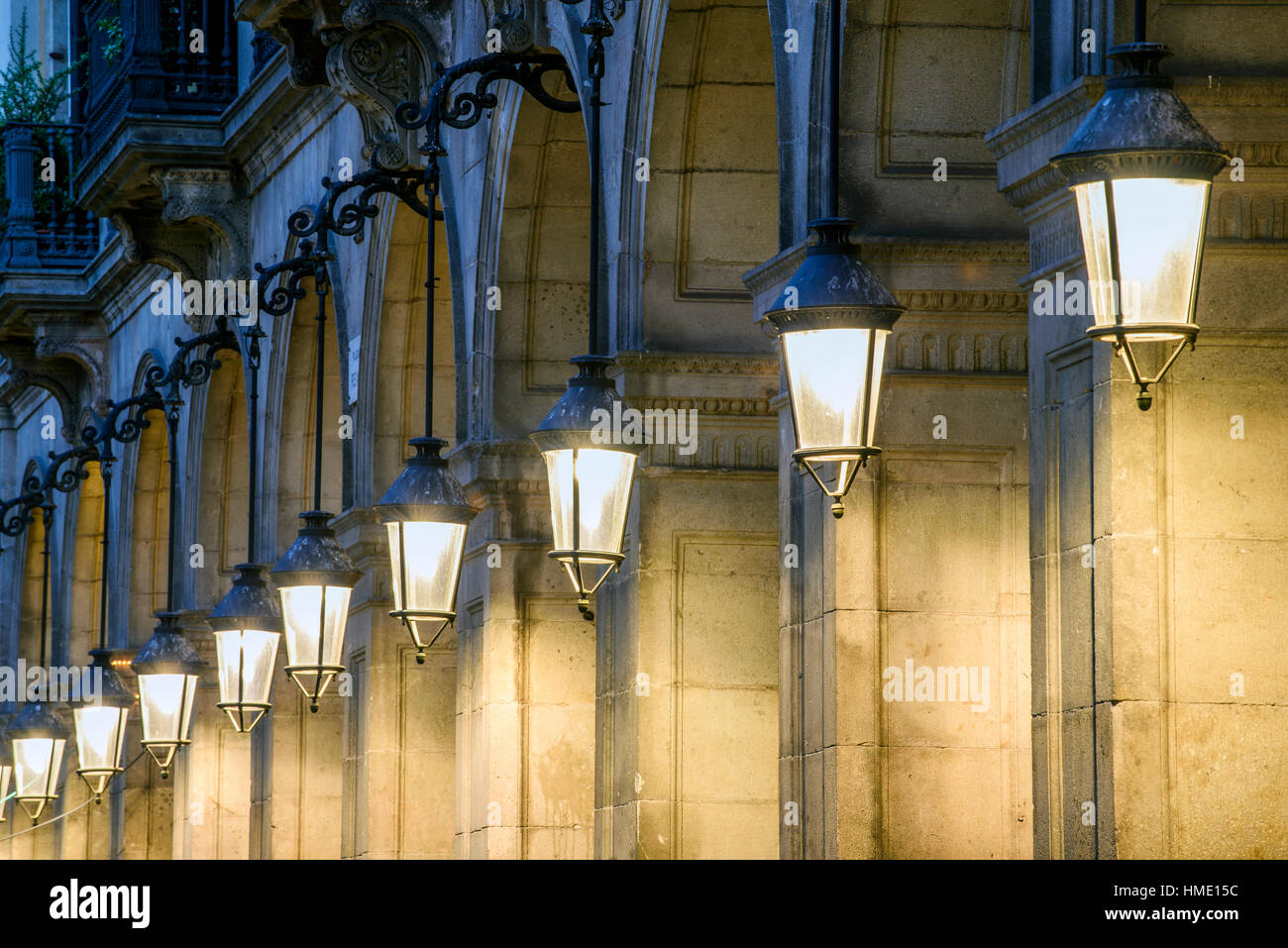 Plaza Real or Placa Reial by night, Barcelona, Catalonia, Spain - Stock Image