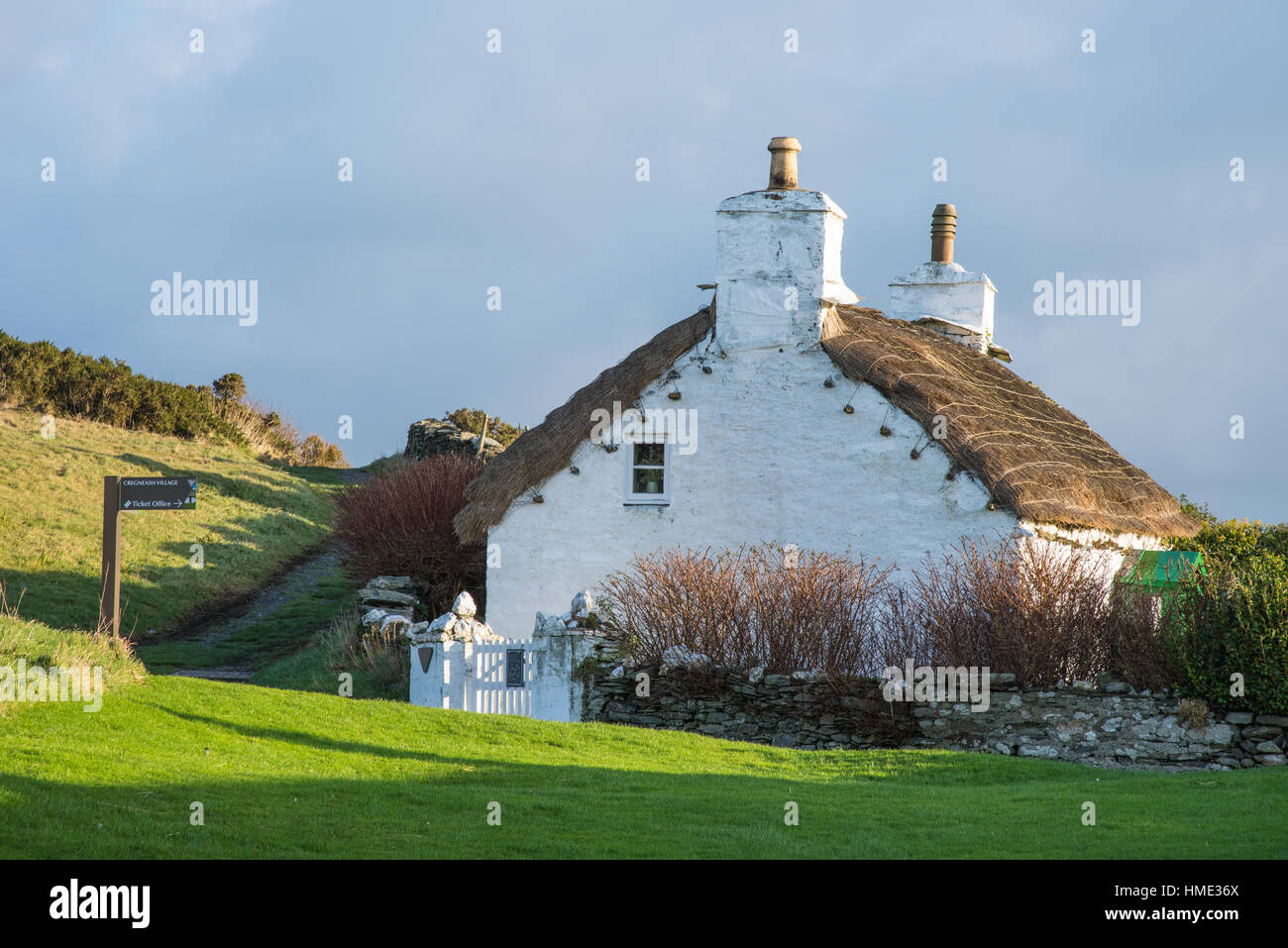 Manx cottage at Cregneash, Isle of Man. - Stock Image