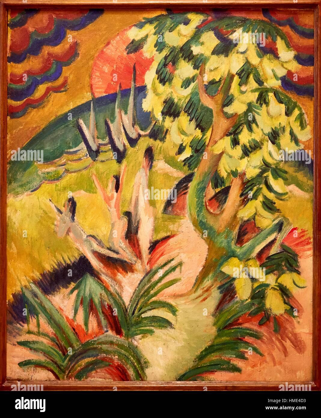 '''Curving Bay'', 1914, Ernst Ludwig Kirchner, Thyssen-Bornemisza Museum, Madrid, Spain - Stock Image