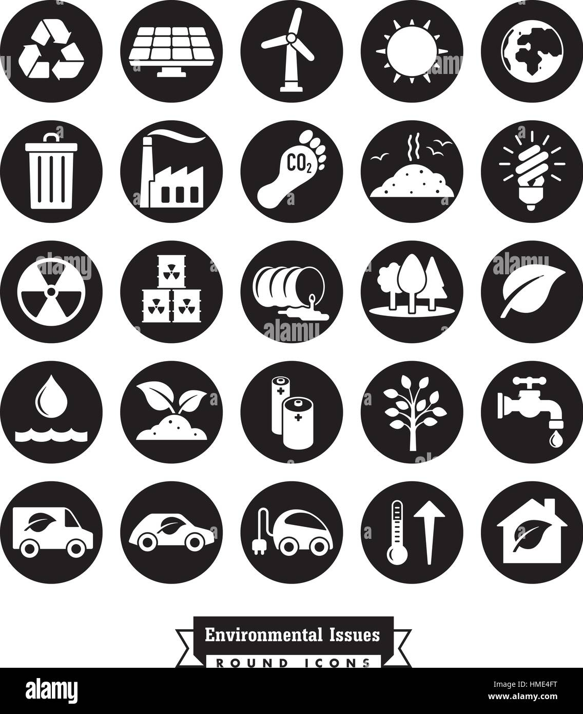 Collection of Environment and Climate related round vector icons - Stock Image