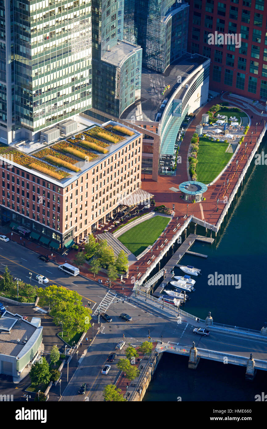 Aerial Fort Point Channel, Intercontinental Hotel, Boston, MA showing ''Green Roof'' center, USA - Stock Image