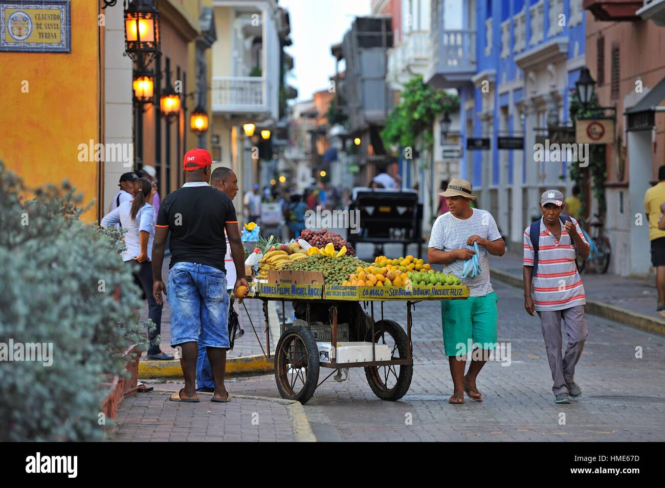 street vendor of fruits inside the downtown colonial walled city, Cartagena, Colombia, South America. - Stock Image