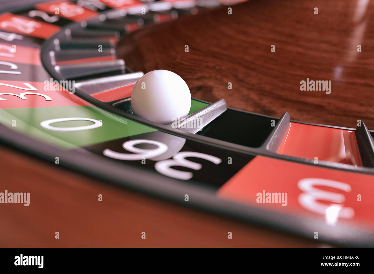Roulette wheel closeup - 3D Rendering - Stock Image