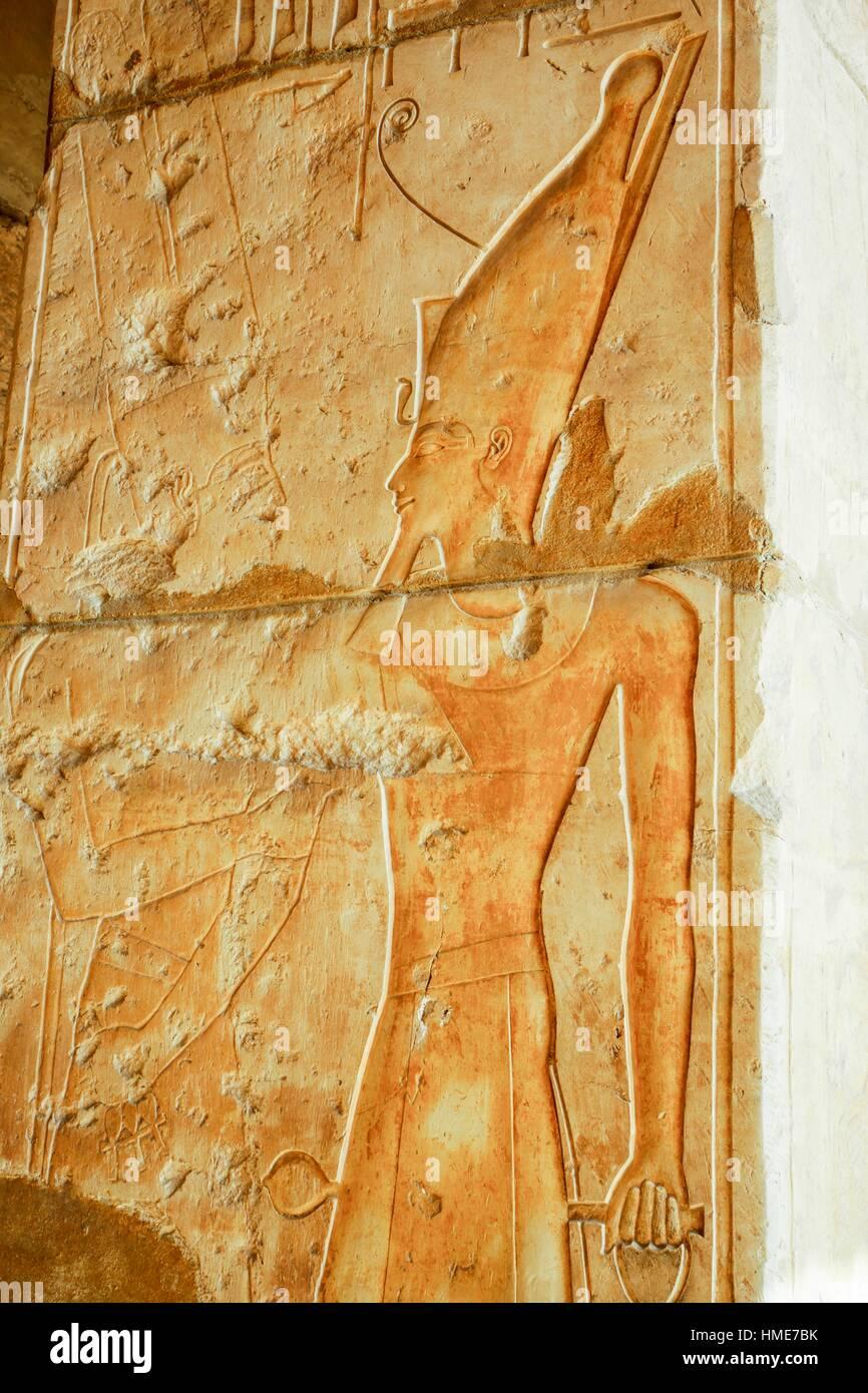 Pharaoh Hieroglyph. Hatshepsut Temple. West Bank. Luxor old Thebas. Upper Egypt. - Stock Image