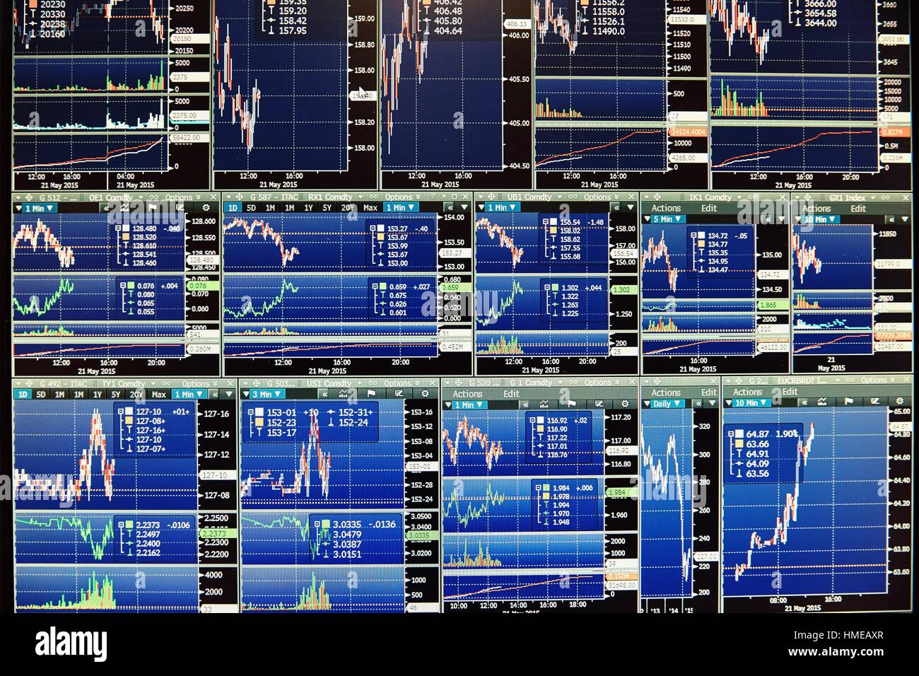 Computer screens. stock market. charts - Stock Image