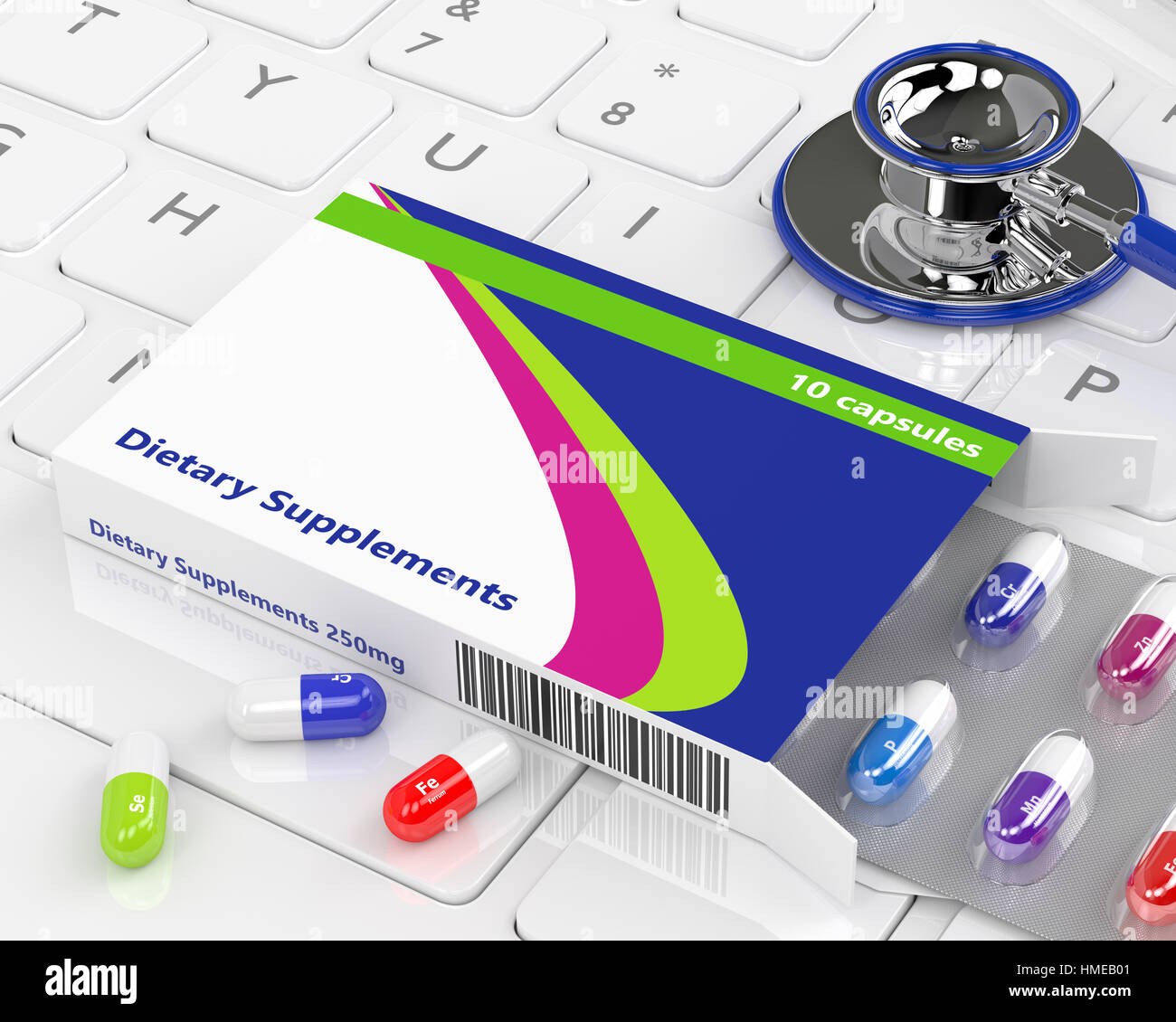 3d rendering of dietary supplements lying with stethoscope on keyboard - Stock Image