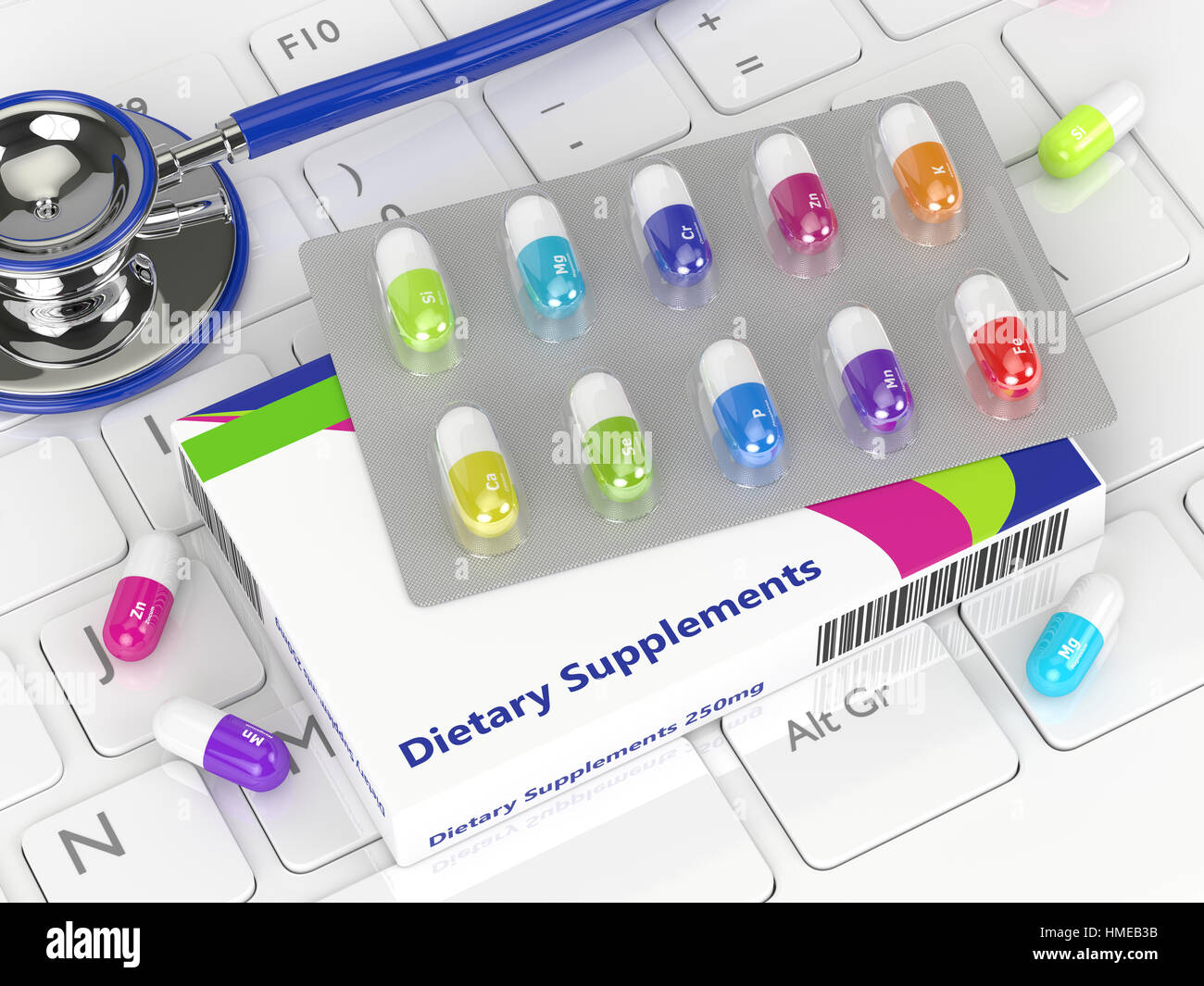 3d rendering of dietary supplements pills lying with stethoscope on keyboard - Stock Image