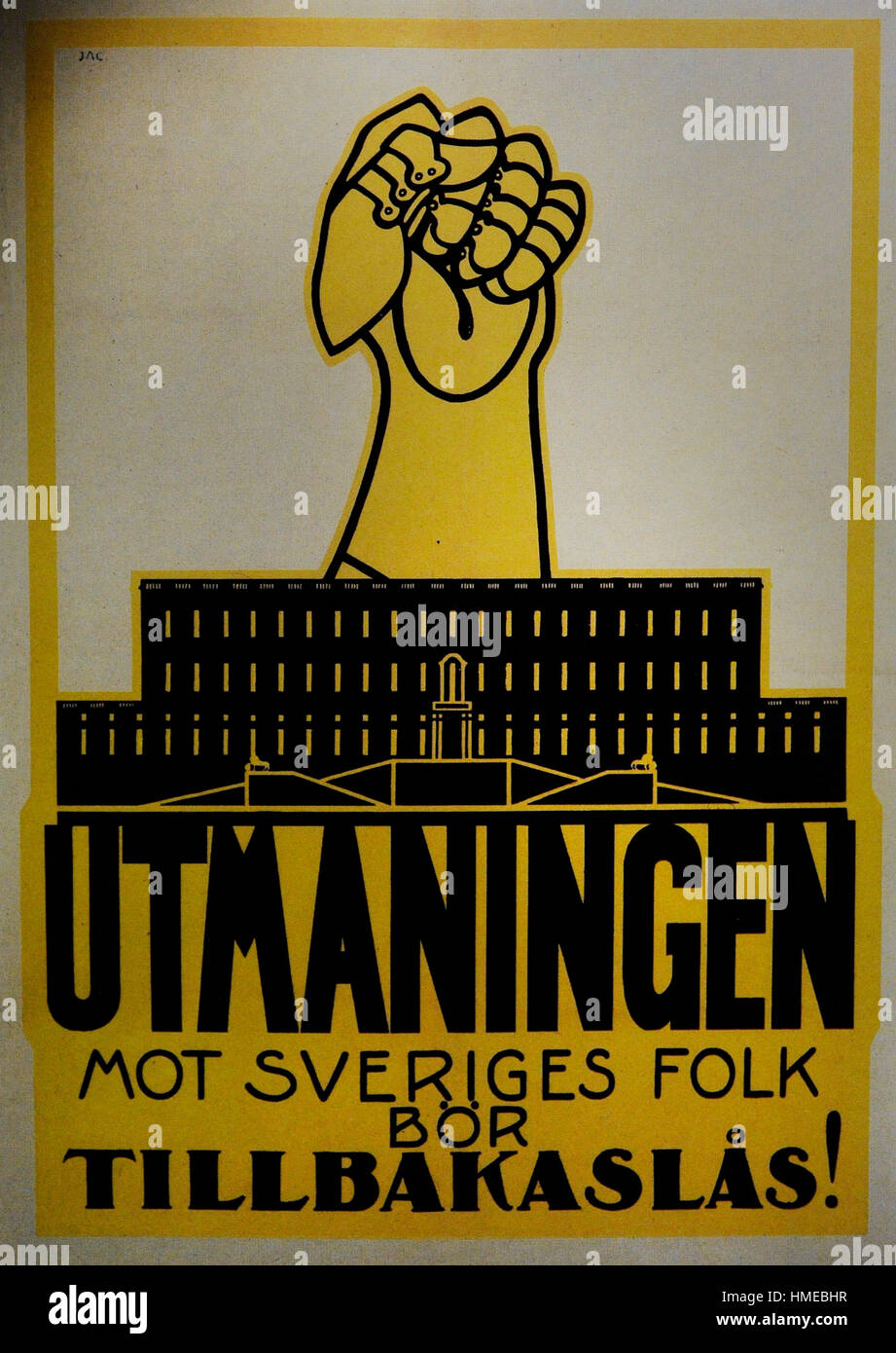 Swedish Social Democratic Party (SAP). Poster, 1914. City Museum. Malmo. Castle. Sweden. - Stock Image