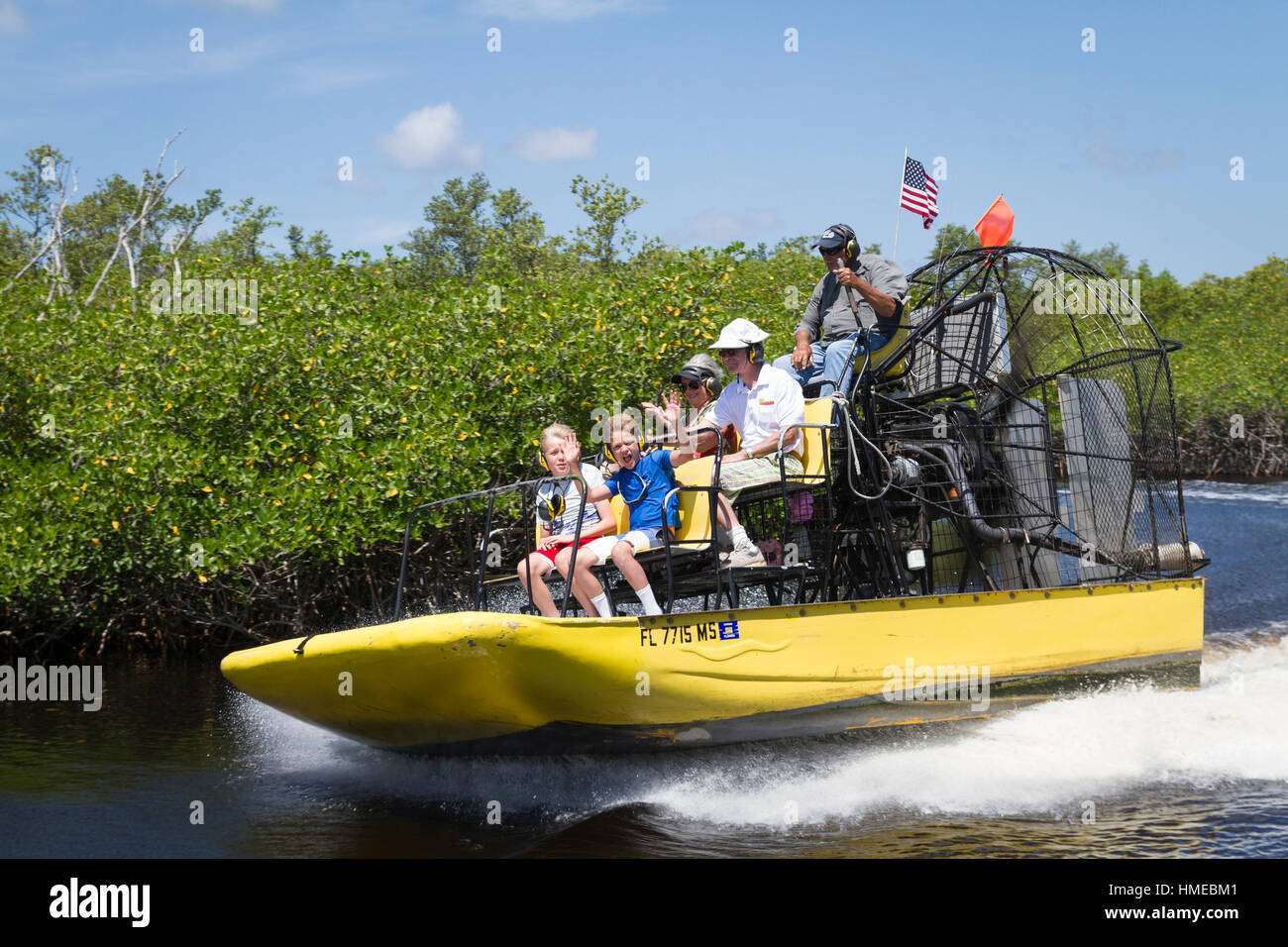 Airboat ride in the Florida Everglades Stock Photo
