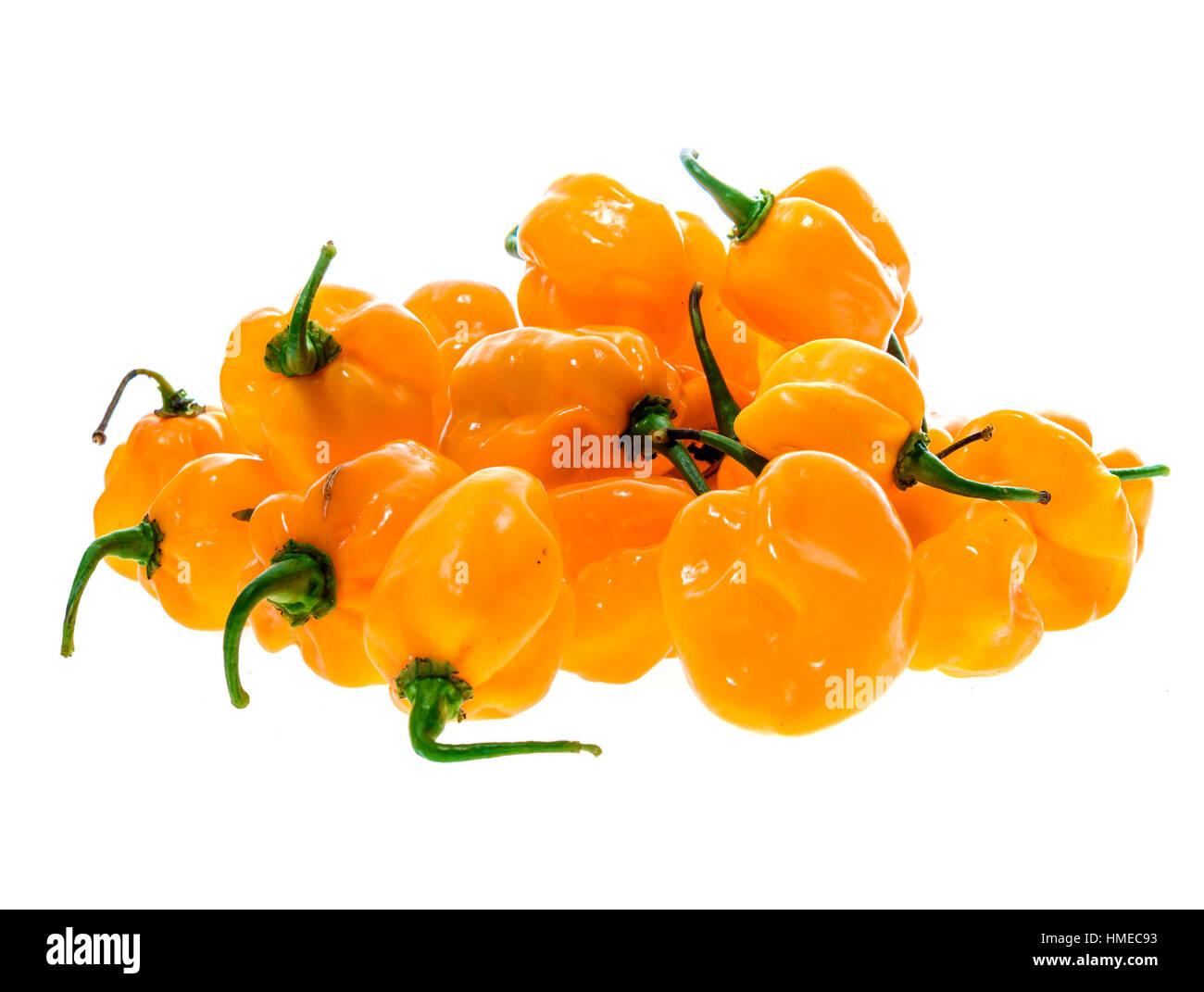 Bunch of Yellow orange ripe habanero hot chili peppers. Isolated on white. Stock Photo