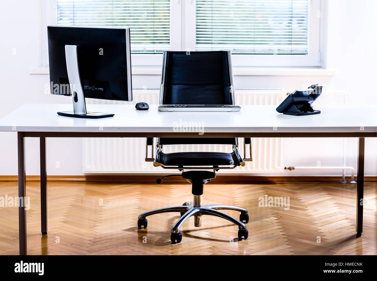 corporate office desk. Office Space Desk. Modern Empty Desk With Computer, Phone And Chair. Corporate A