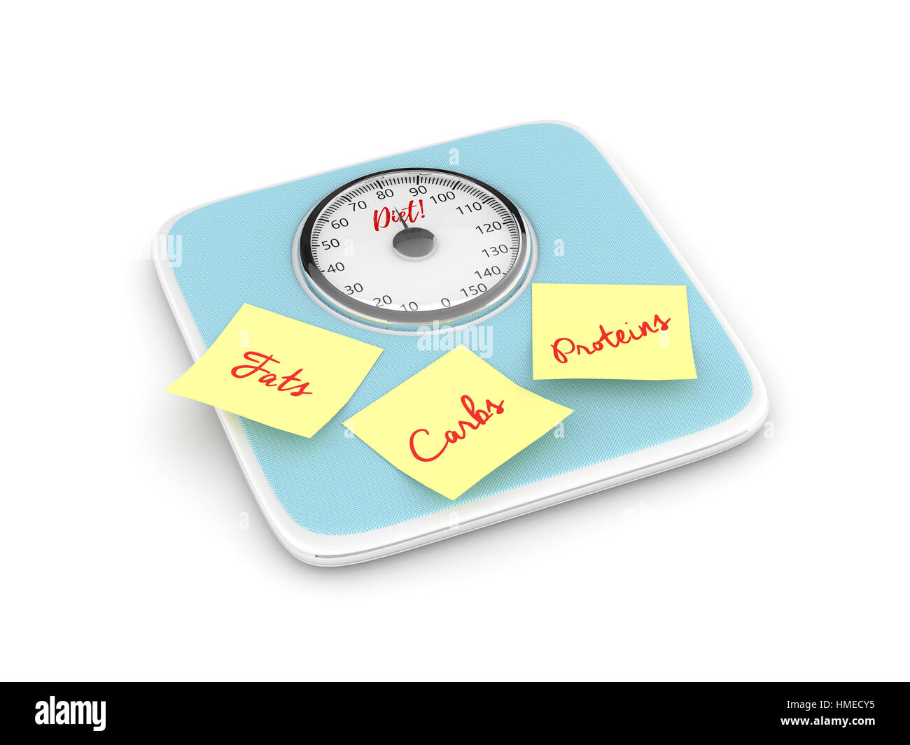 3d rendering of weight scale with notes isolated over white background - Stock Image