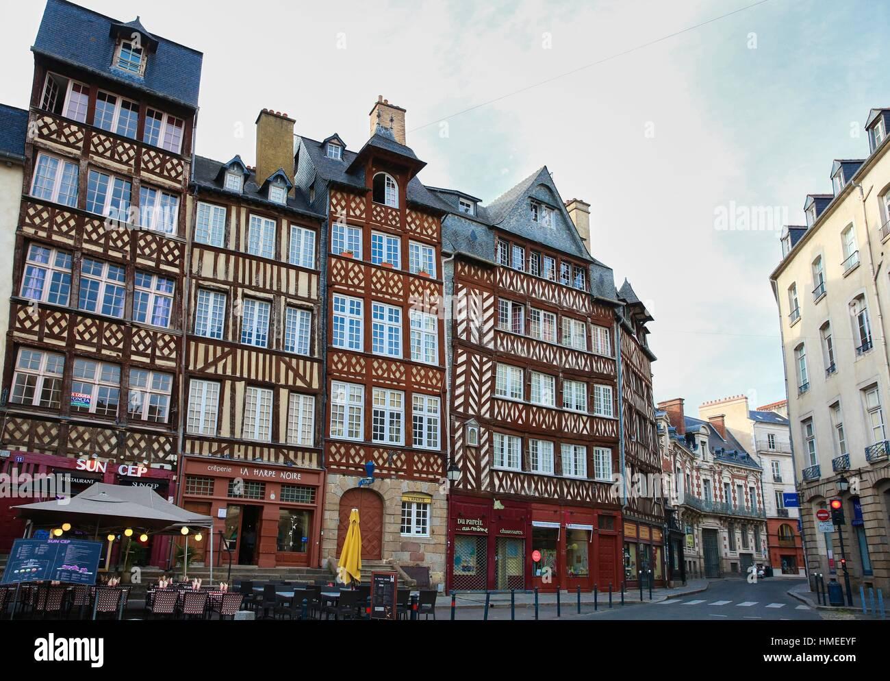 Champ-Jacquet square, Rennes, Bretagne, Brittany, France - Stock Image