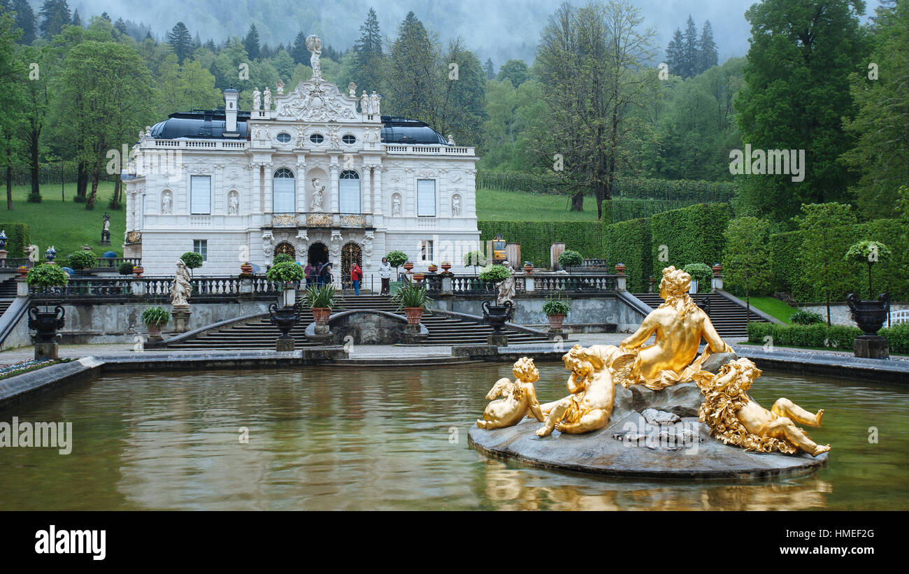 Linderhof palace with Fountain Statue Stock Photo