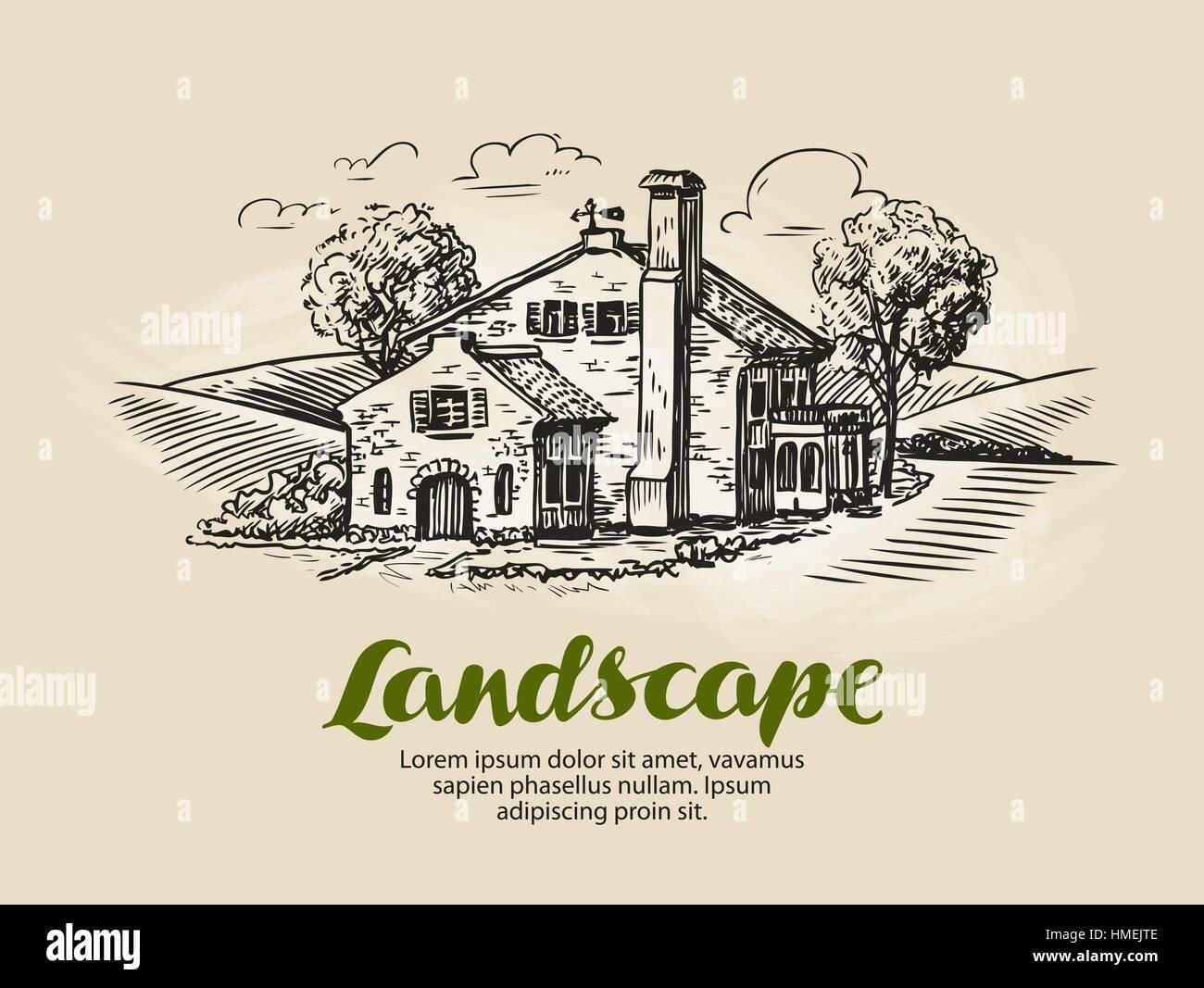 House, summer cottage sketch. Vintage farm, rural landscape vector illustration - Stock Vector