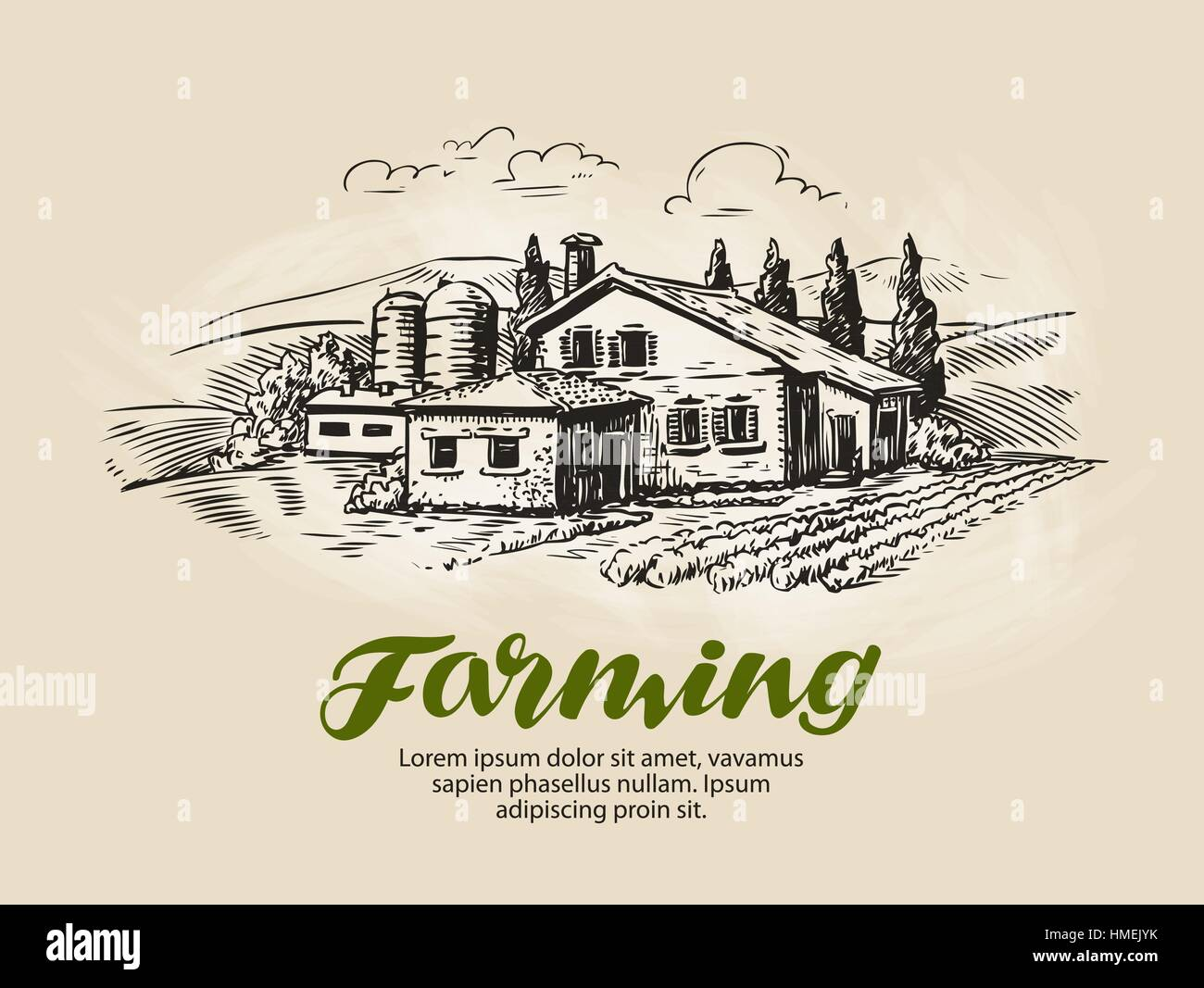 Cottage, country house sketch. Farm, rural landscape, agriculture, farming vector illustration - Stock Image