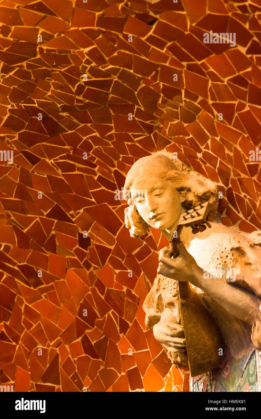 Palau de la musica catalana, art deco interior, Barcelona, Spain. Musician sculptures built in mosaic tiles. Barcelona, - Stock Image