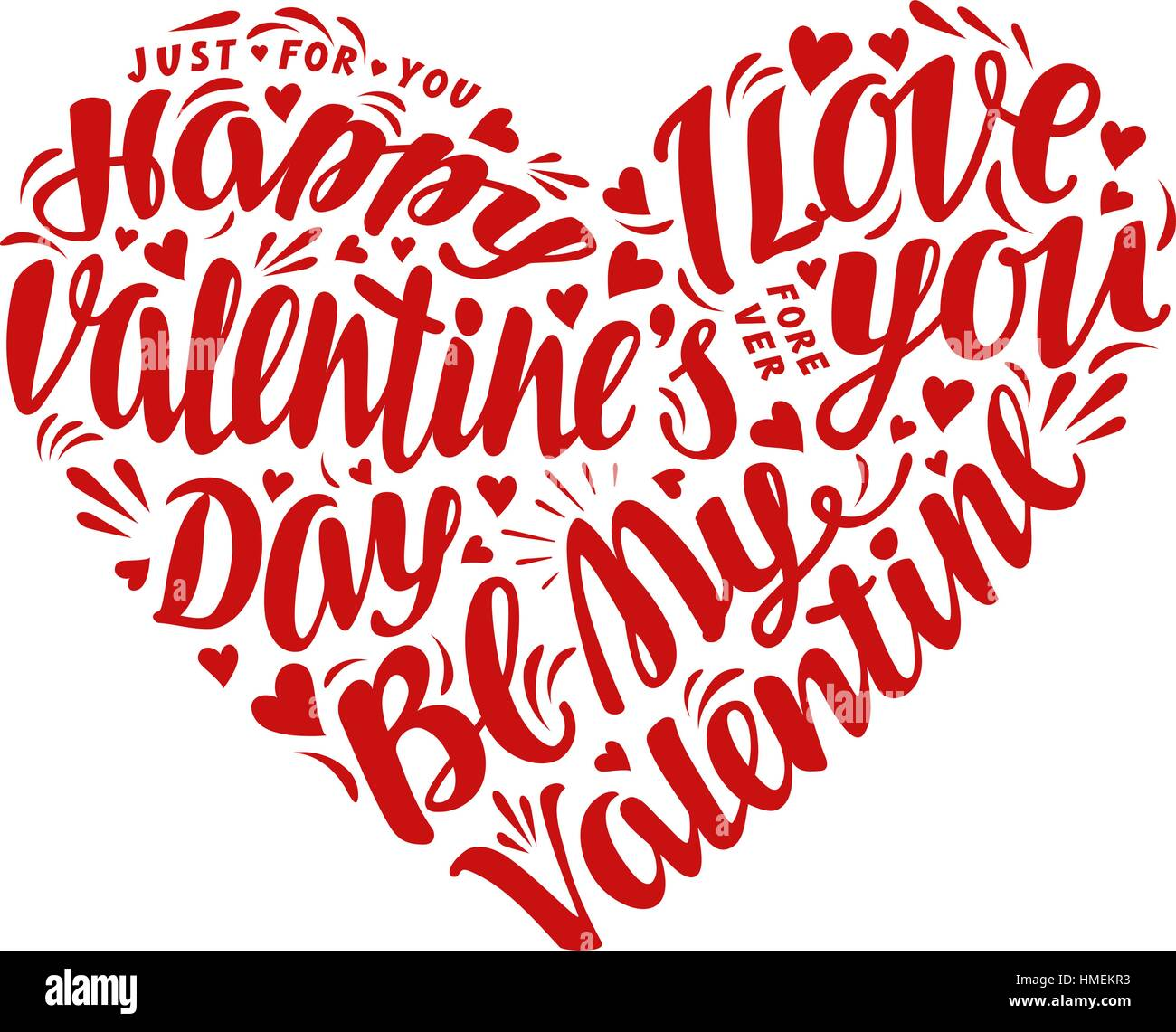 Happy Valentines Day Lettering Calligraphy In Shape Heart Vector