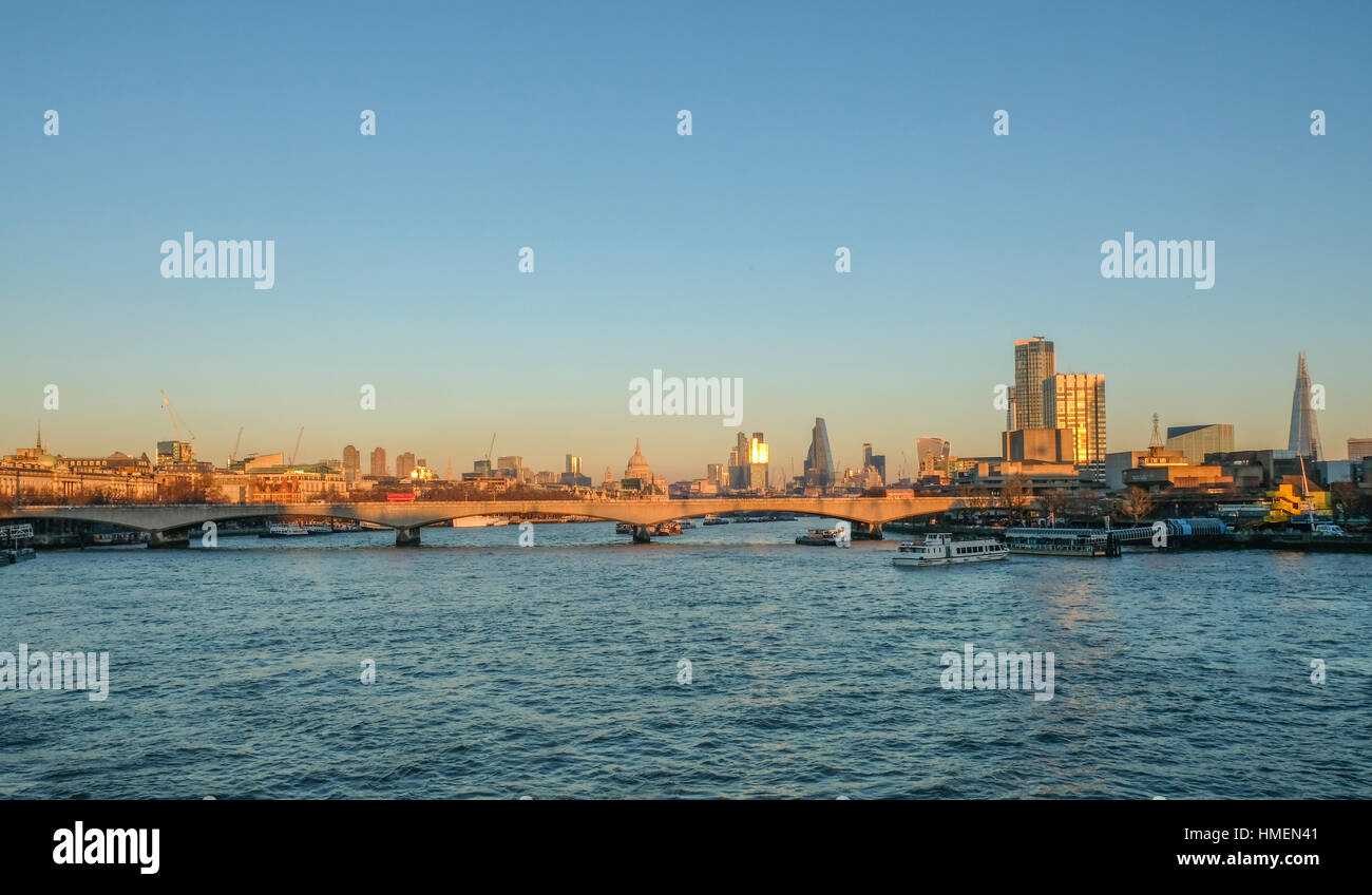 Skyline photo of London showing Waterloo bridge and the City beyond. Stock Photo