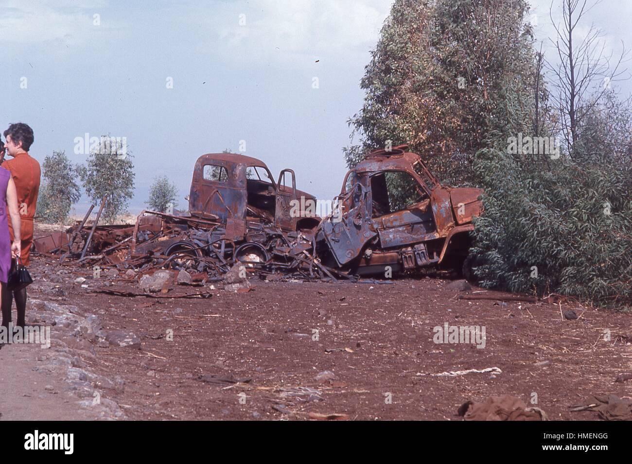 View of burned and rusted remains of military vehicles used in the Six Day War, in the Golan Heights outside the - Stock Image