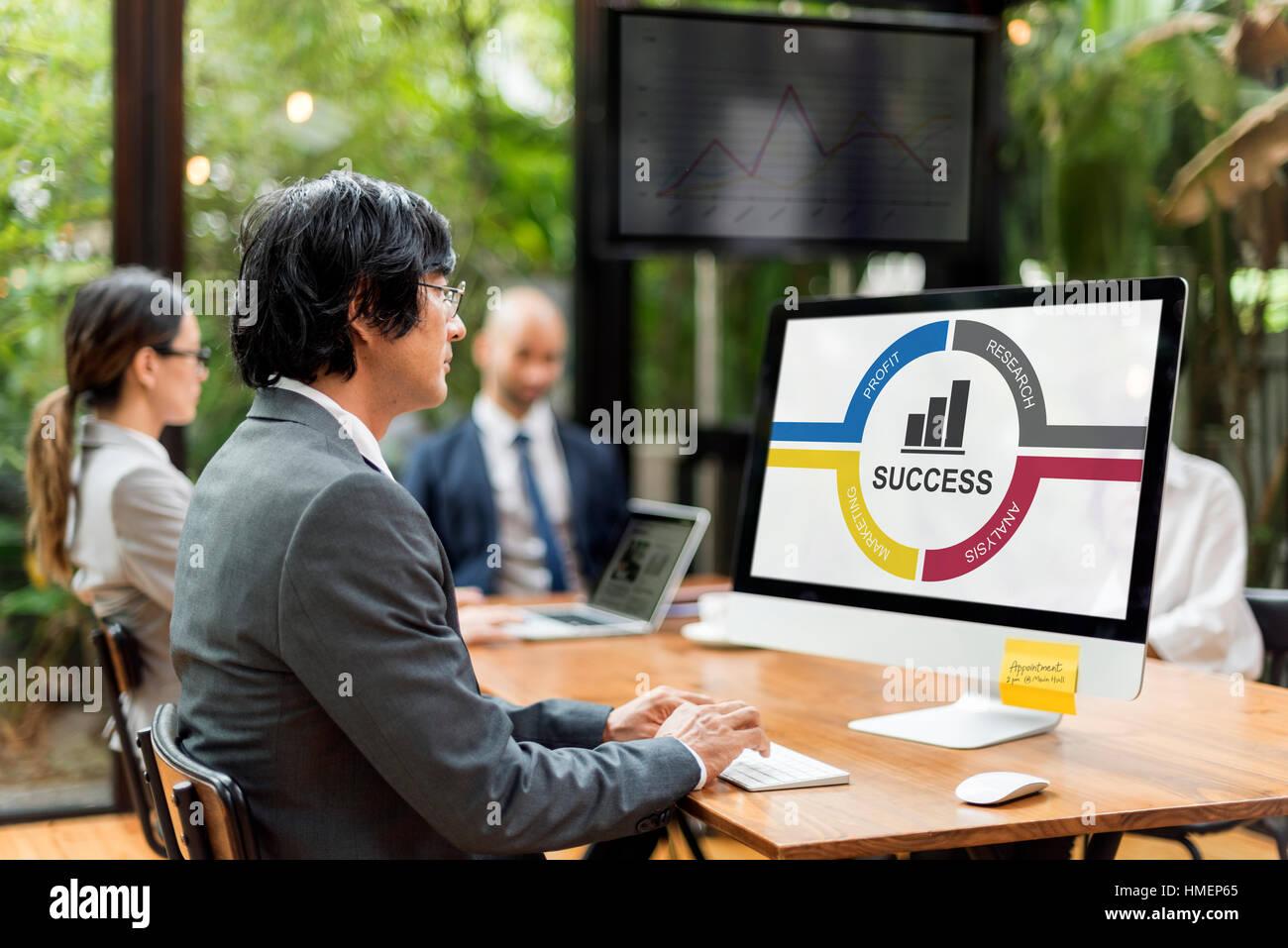 Success Diagram Processes Circle Concept - Stock Image