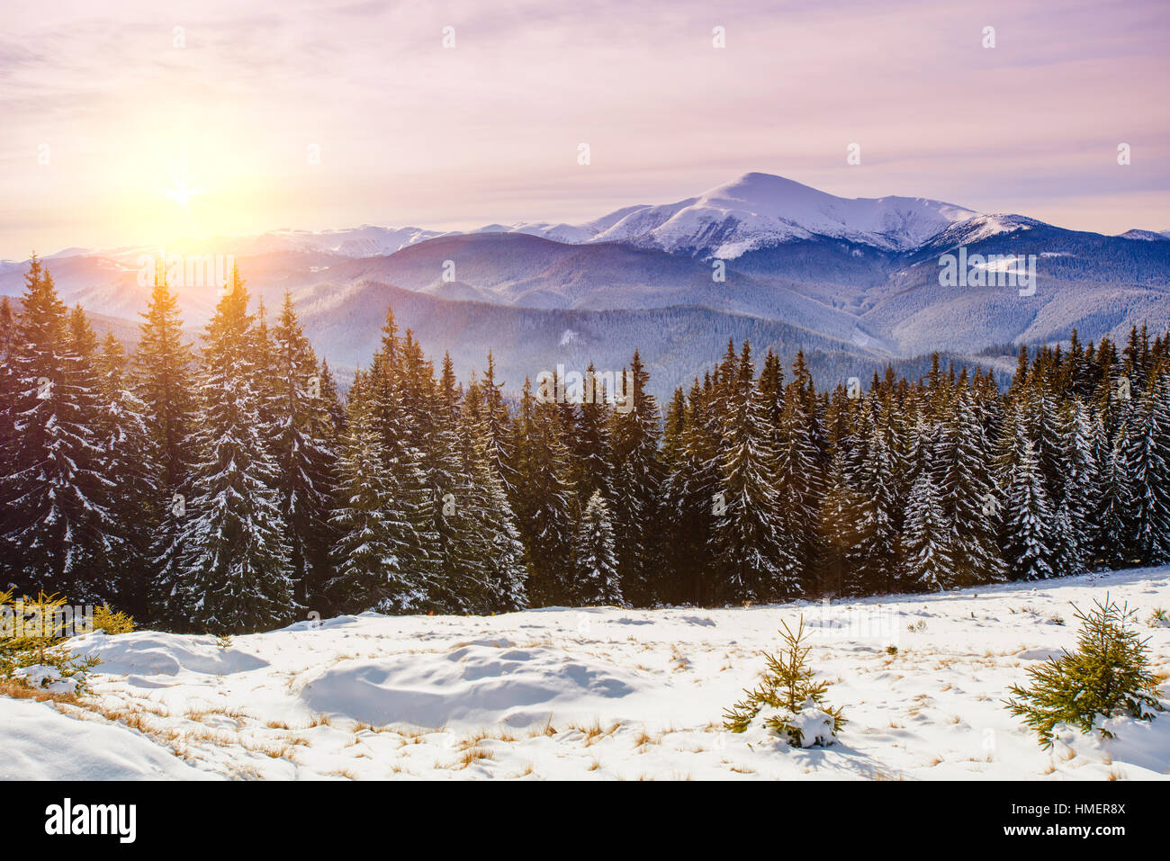 snow capped mountains - Stock Image