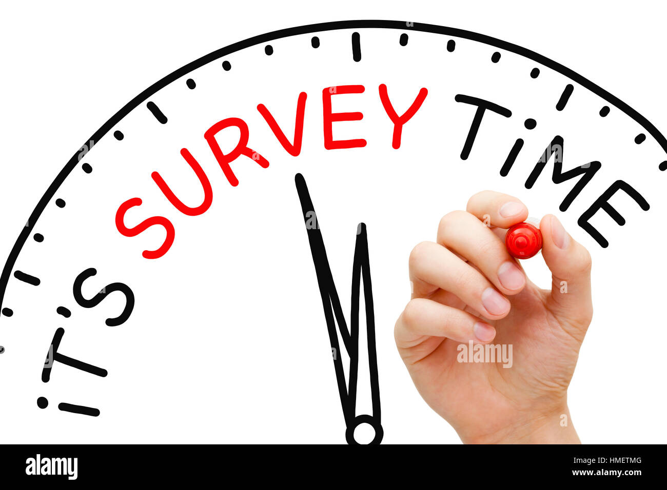 Hand writing It's Survey Time on drawn clock with marker pen on transparent glass board. - Stock Image