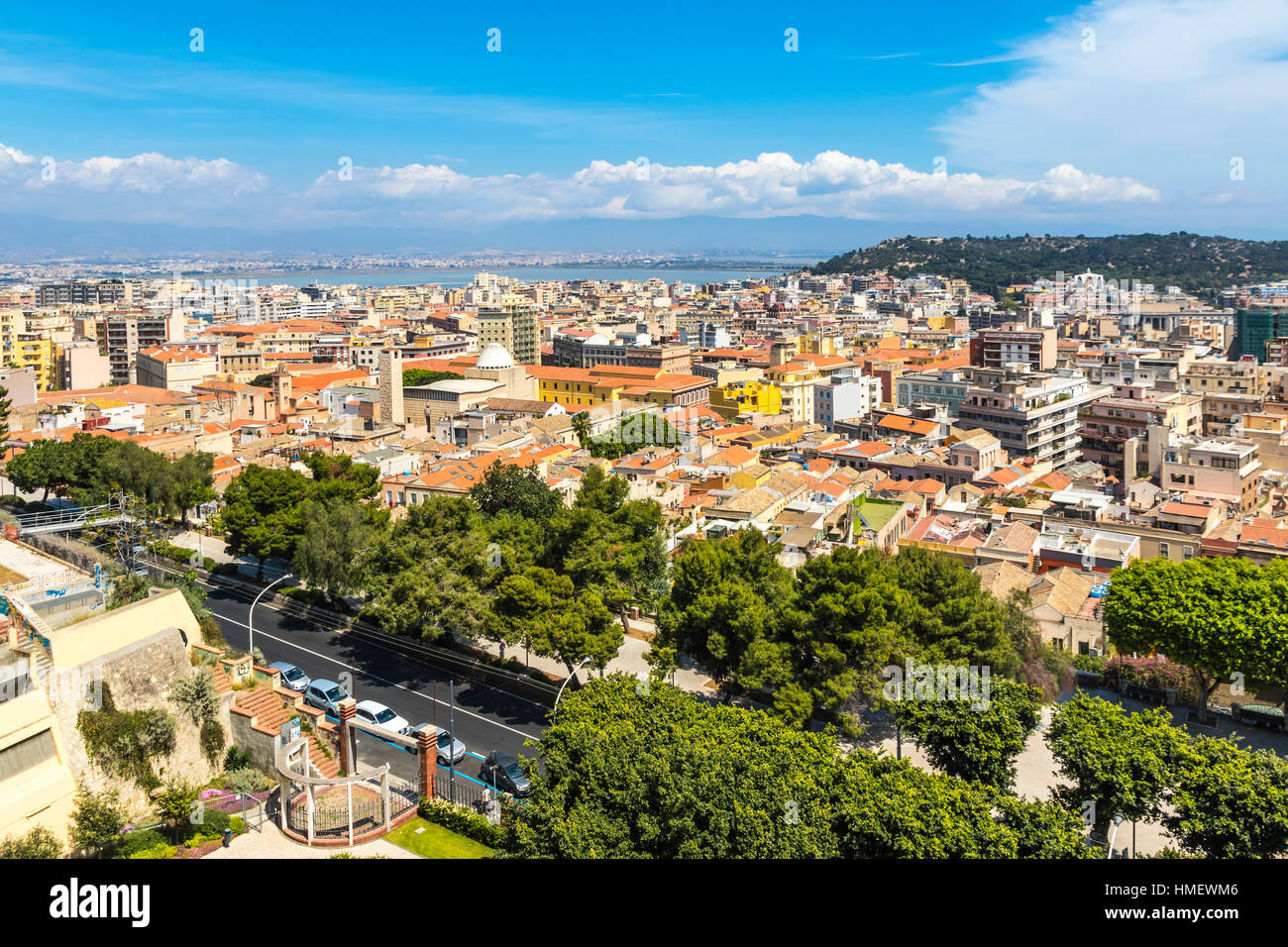 Bird eye view of Cagliari old town, Sardinia, Italy. Cagliari is the capital and the largest city of Italian island - Stock Image