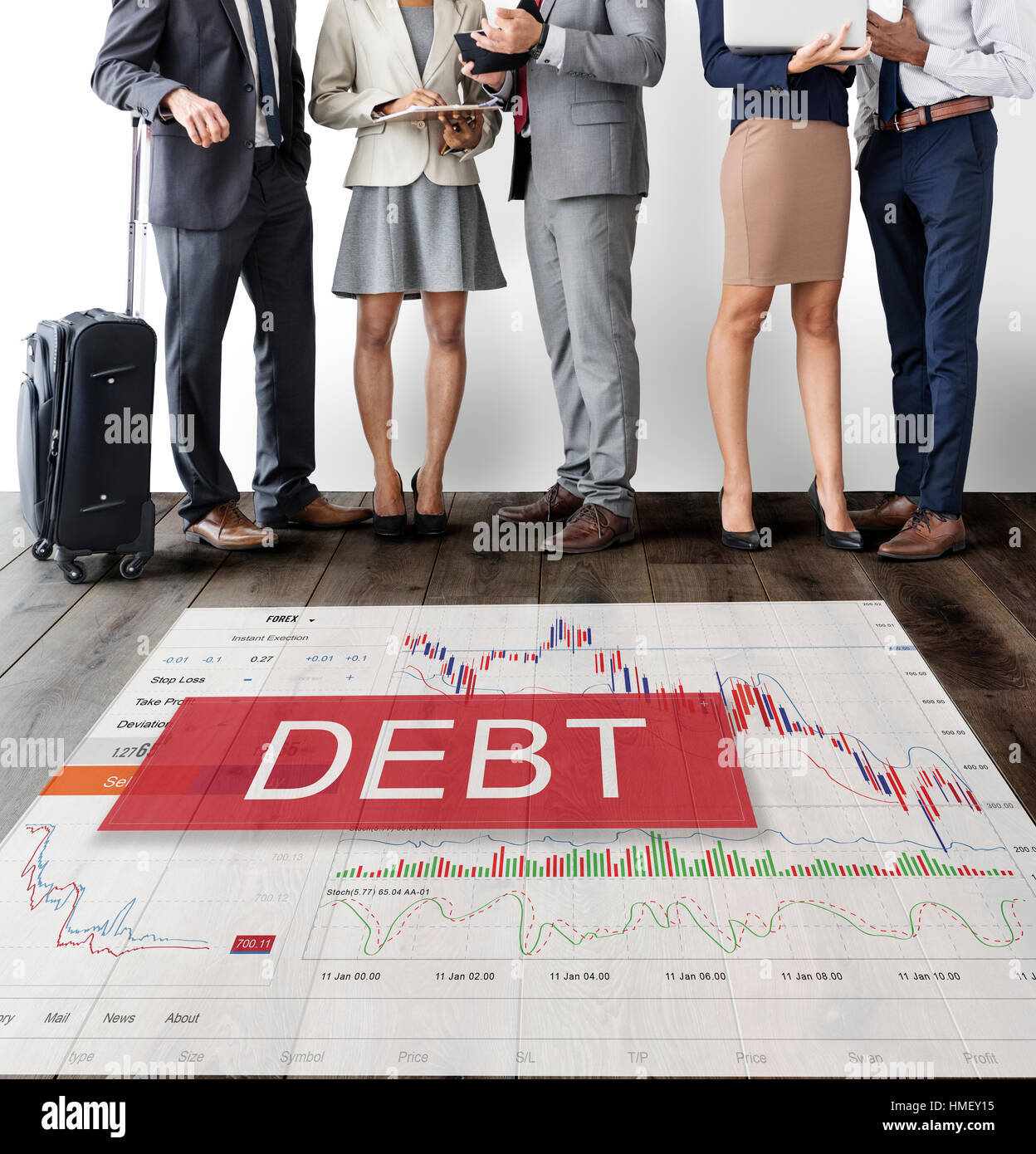 Debt Chart Graphic Diagram Concept - Stock Image