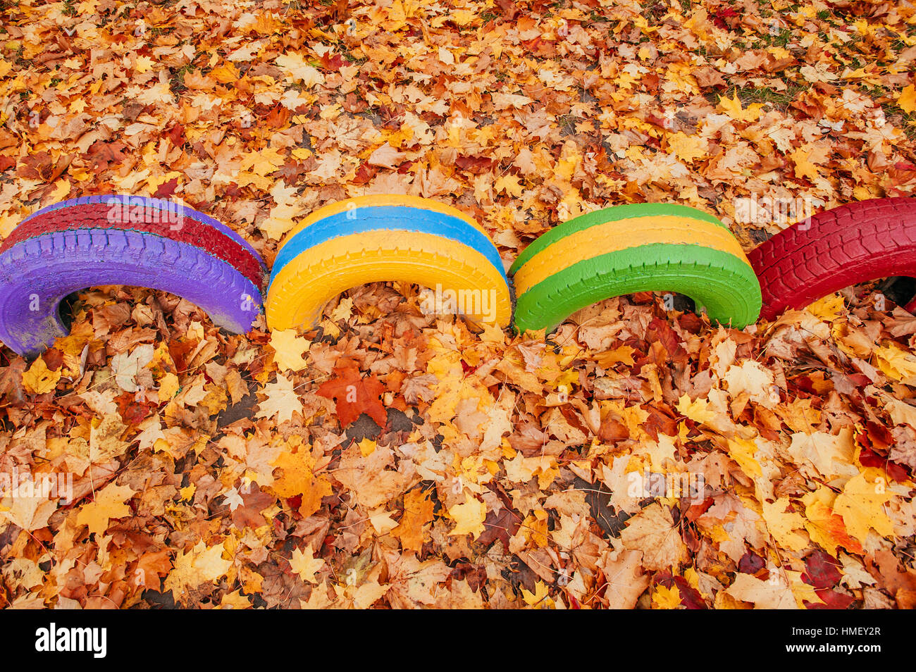 colored playground near the kindergarten - Stock Image