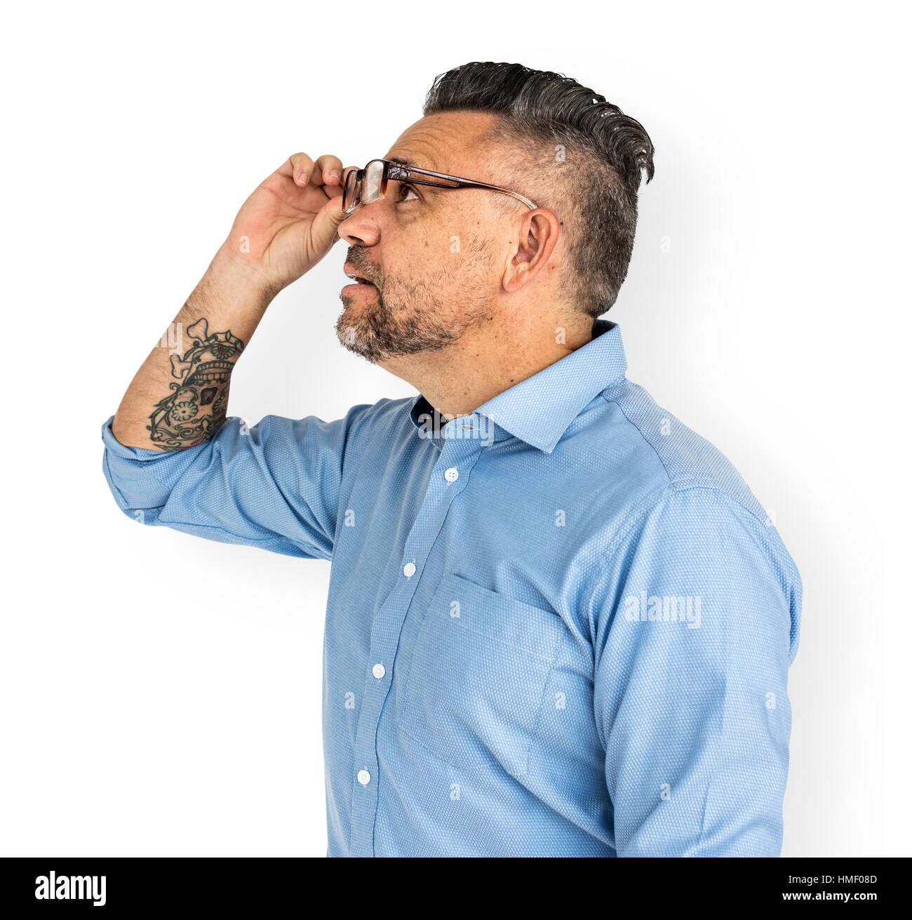 Mature Man Amazed Looking Glasses Concept - Stock Image