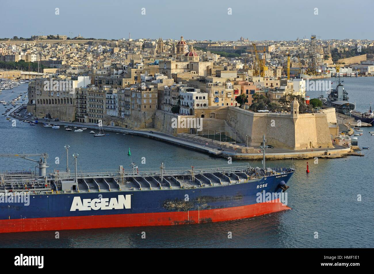 Crude Oil Tanker ´´Rose´´ in the Grand Harbour in front of Senglea, one of the Three Cities, - Stock Image