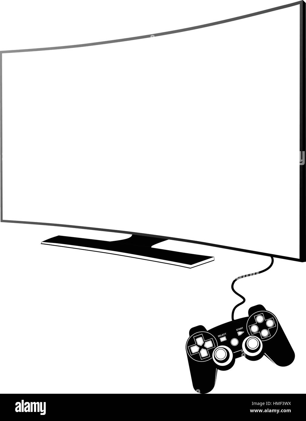 Sony Playstation 4 with TV - Stock Image