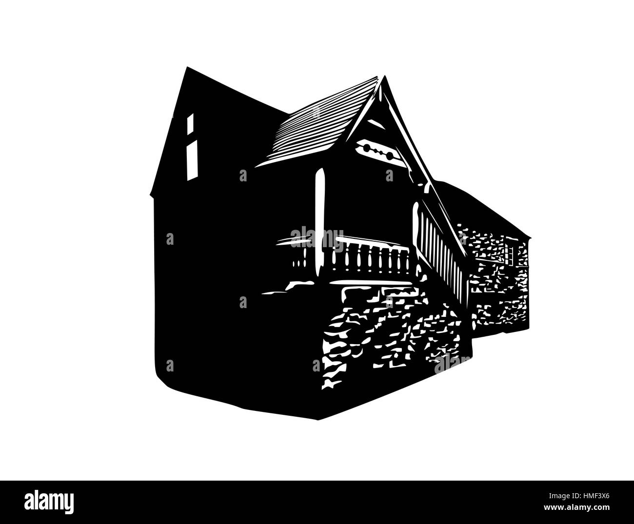 Vector silhouette of an old English rural house - Stock Vector