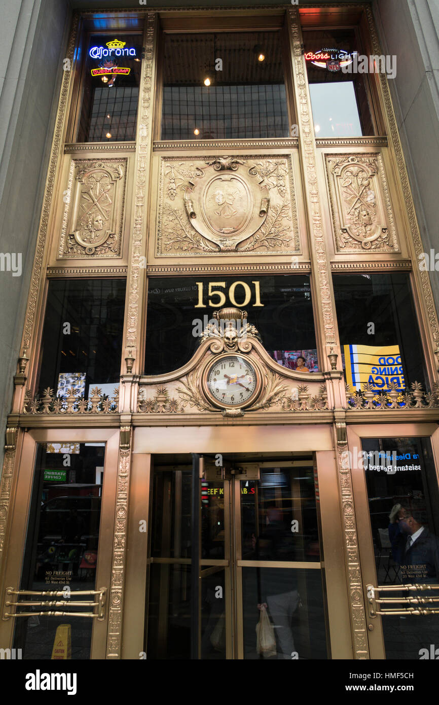 Ornate Front Entrance, Paramount Building, 1501 Broadway, NYC, USA - Stock Image