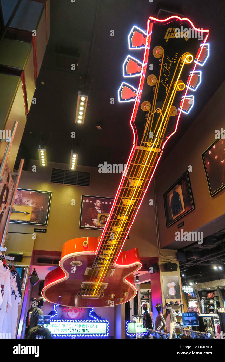 Giant Ceiling Guitar Decorates the Entrance to th Hard Rock Cafe, NYC, USA - Stock Image