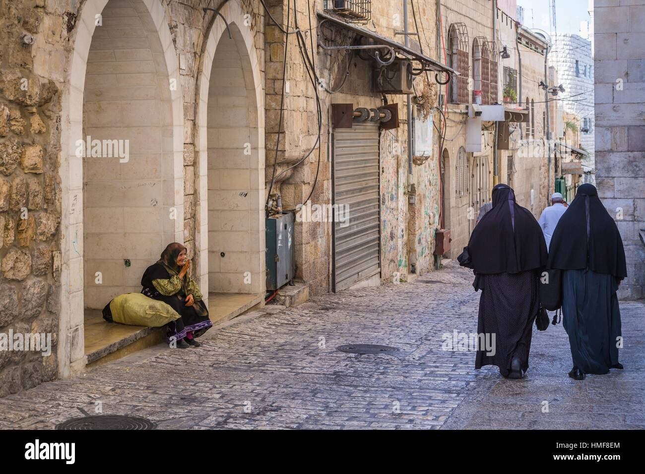 A street view along the Via Dolorosa in Jerusalem, Israel, Middle East. - Stock Image