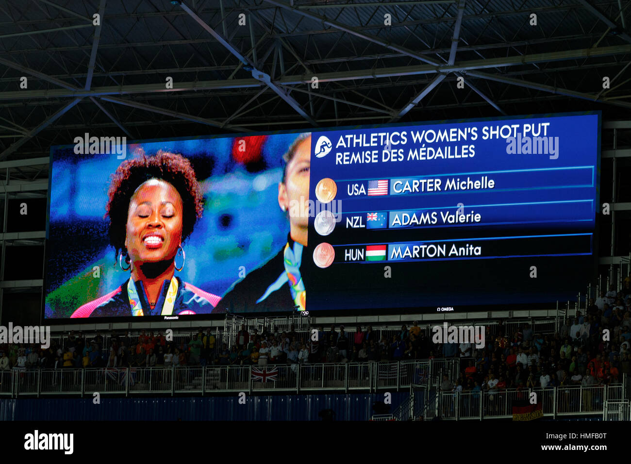 Rio de Janeiro, Brazil. 13 August 2016.  Video board showing Michelle Carter (USA) gold medal winner in the Women's - Stock Image