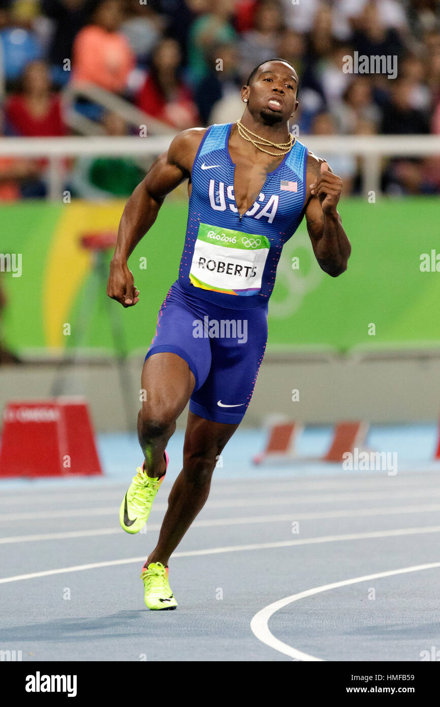 Rio de Janeiro, Brazil. 13 August 2016.  Athletics, Gil Roberts (USA) competing in the men's 400m semi-finals - Stock Image