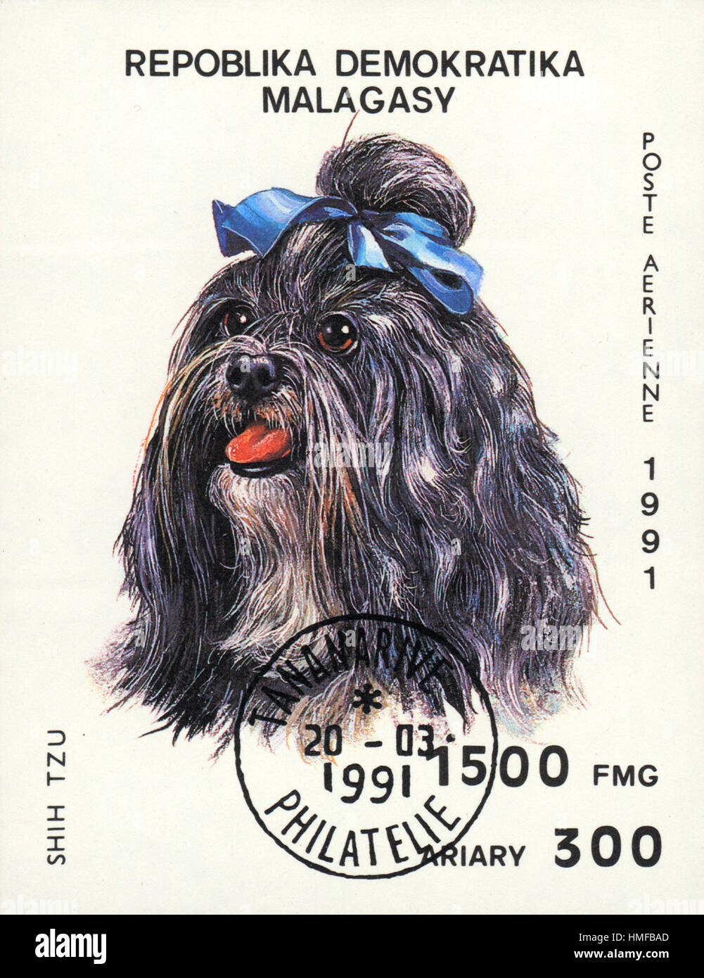 A postage stamp printed in Republica Malagasy shows a dog Shih tzu, from series Breeds of dogs , circa 1991 Stock Photo