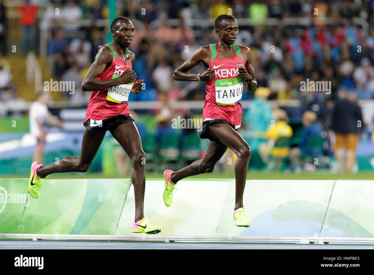 Rio de Janeiro, Brazil. 13 August 2016.  Athletics, Geoffrey Kipsang Kamworor (KEN) and Paul Kipngetich Tanui (KEN) Stock Photo