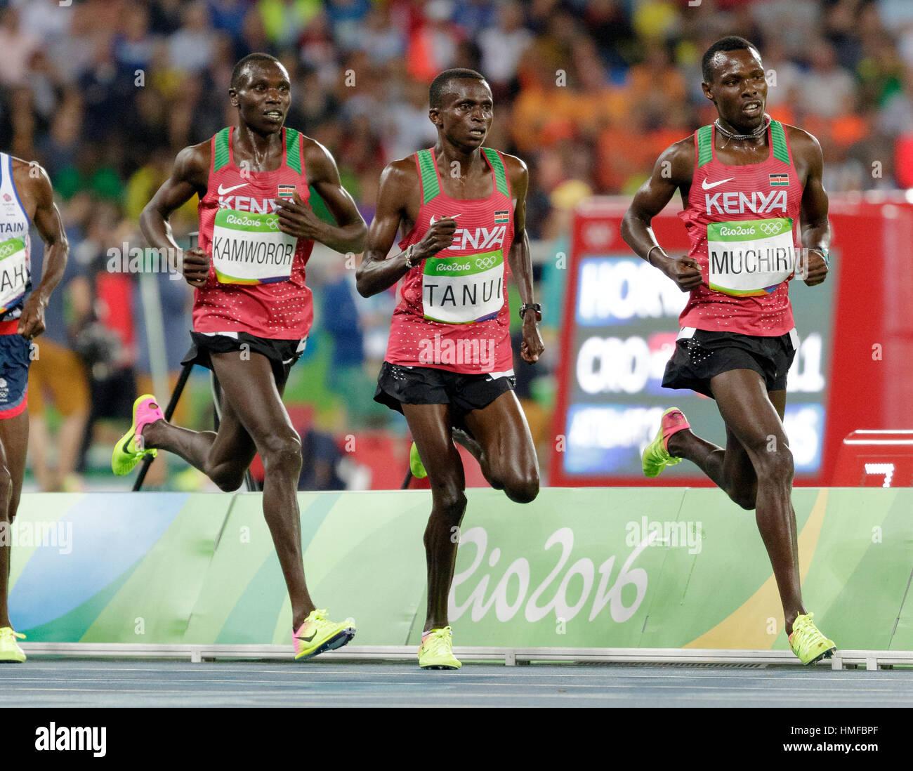 Rio de Janeiro, Brazil. 13 August 2016.  Athletics, Men's 10.000m final at the 2016 Olympic Summer Games. ©Paul Stock Photo