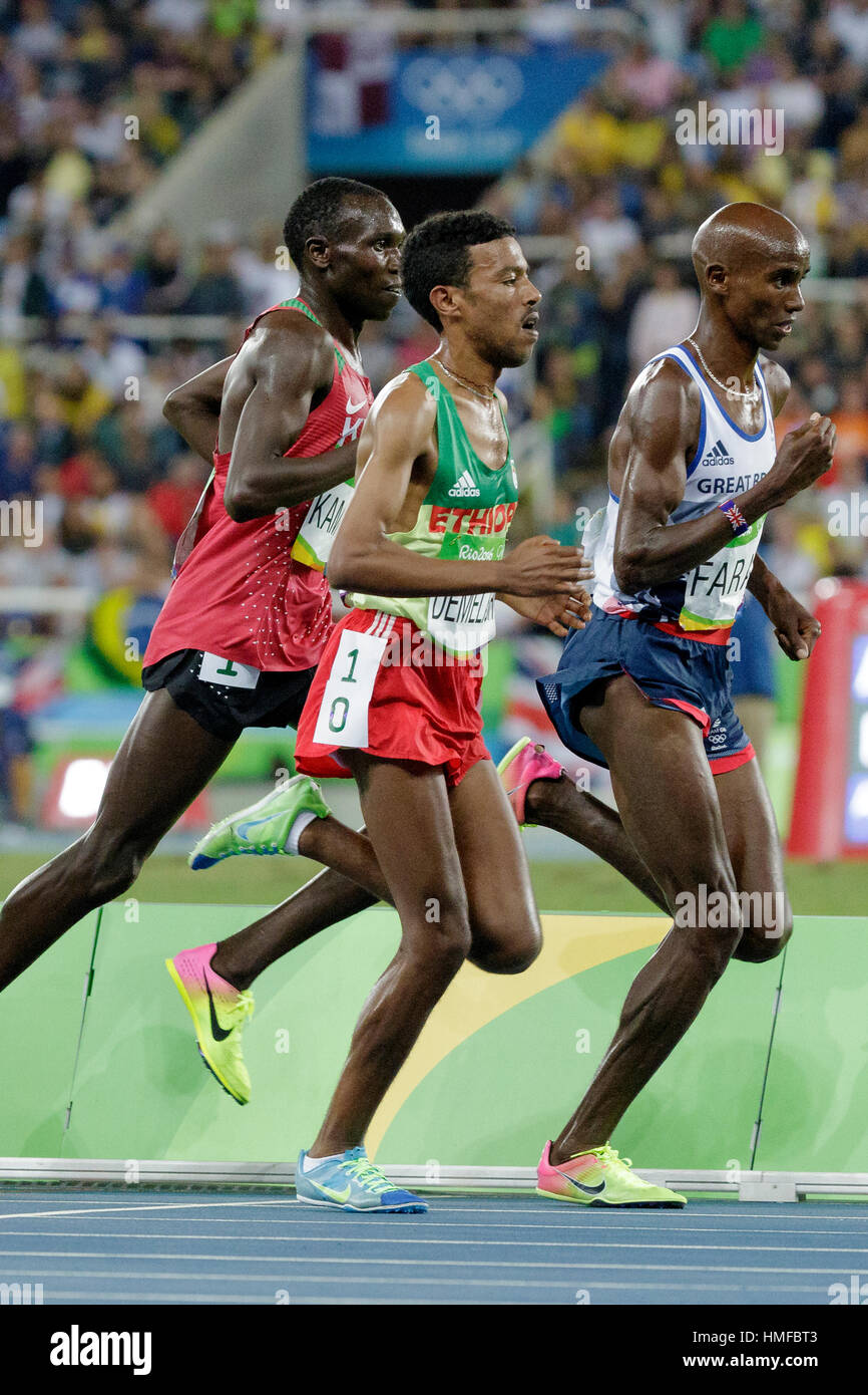 Rio de Janeiro, Brazil. 13 August 2016. Mo Farah (GBR) wins the gold medal in the Men's 10,000m at the 2016 - Stock Image