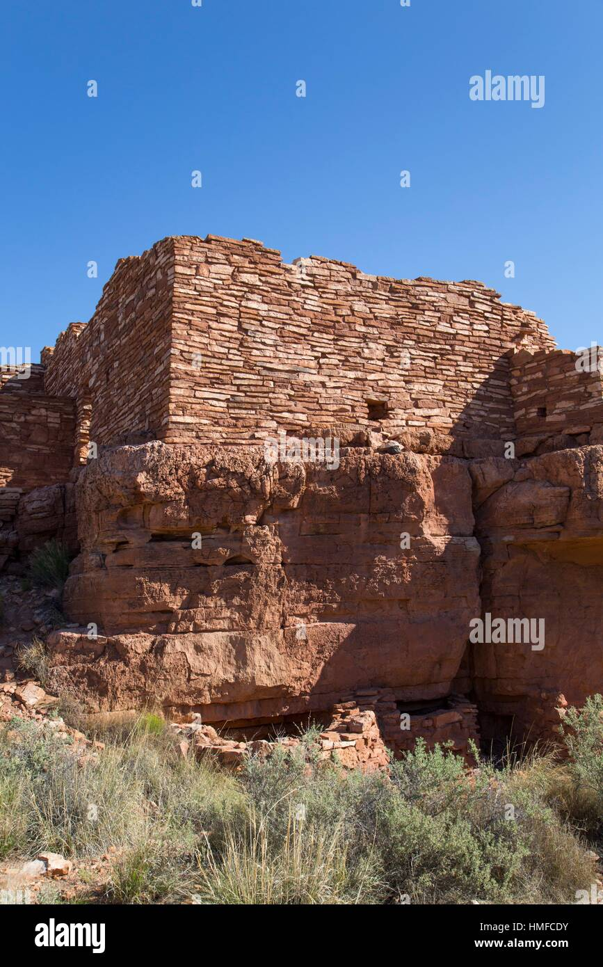 Lomaki Pueblo, Inhabited from approximately 1,100 AD to 1,250 AD, Wupatki National Monument, Arizona, USA - Stock Image