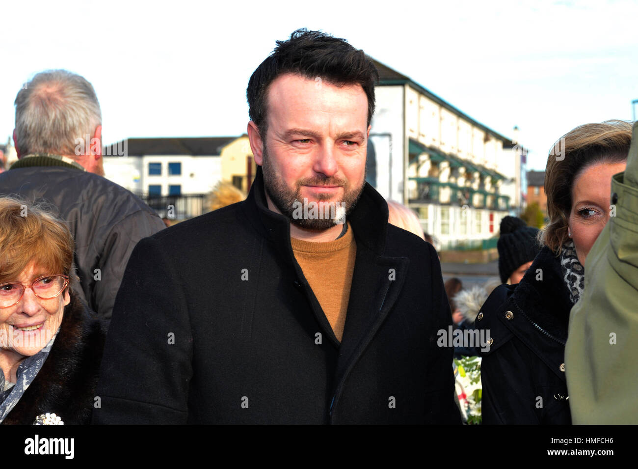 SDLP leader Colum Eastwood attending the 45th Bloody Sunday memorial service in Derry, Londonderry. - Stock Image