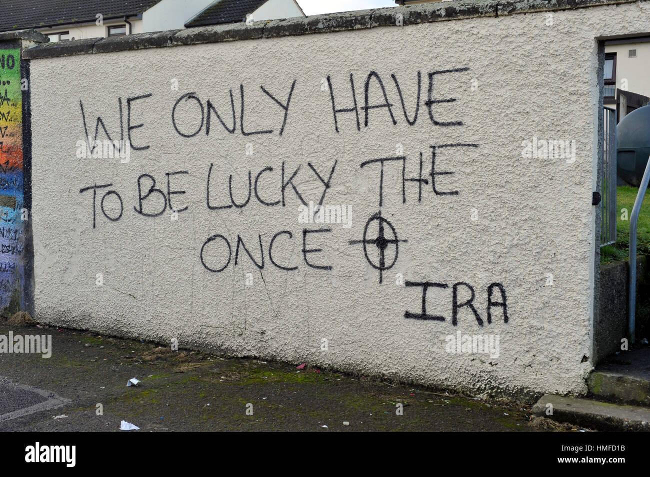 Dissident republican graffiti in Creggan, Londonderry - Stock Image