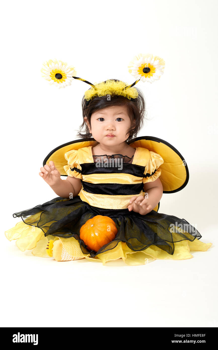 baby wearing bee costume is ready for halloween