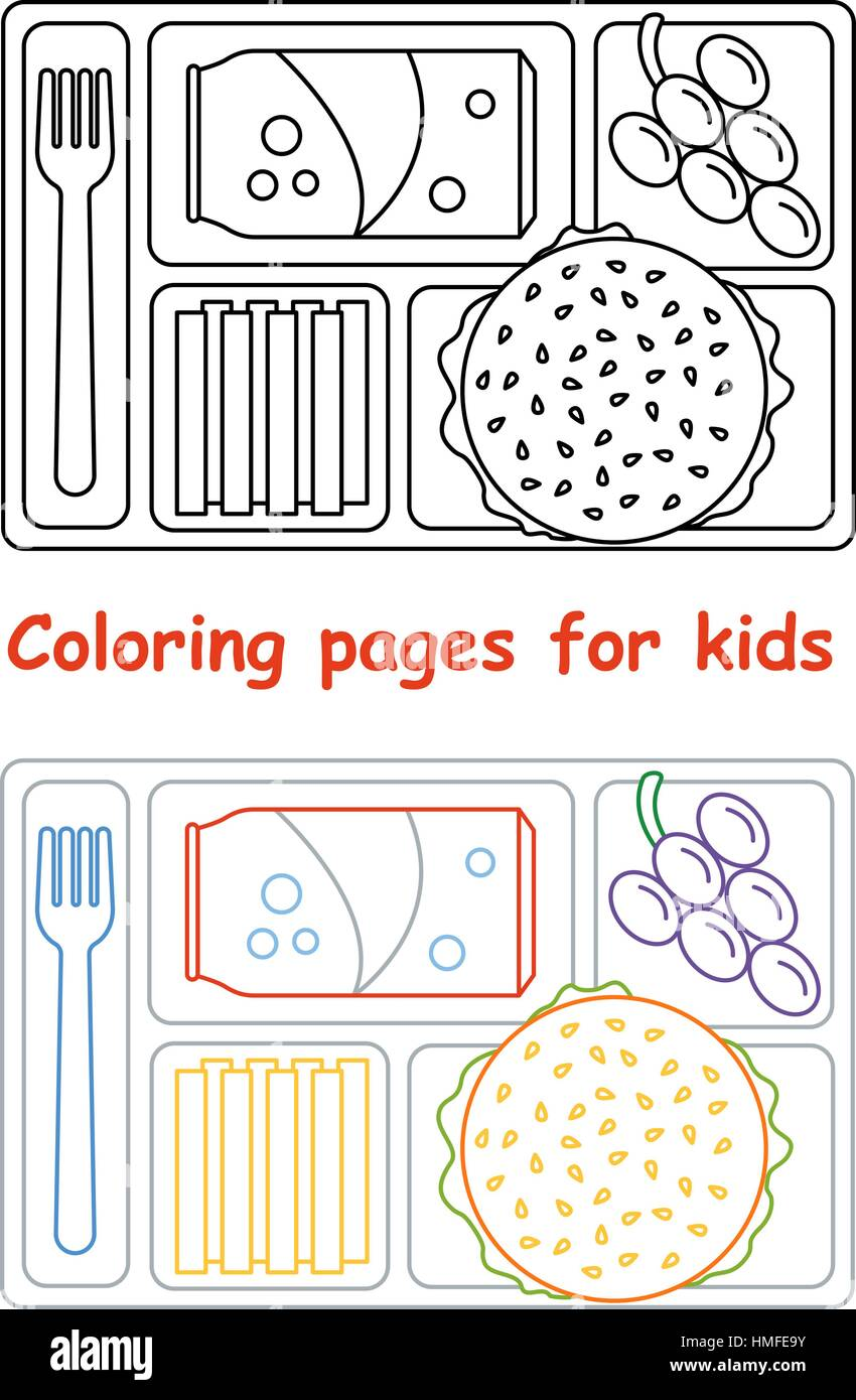 Coloring Pages For Kids With Lunch Tray Stock Vector Image Art Alamy