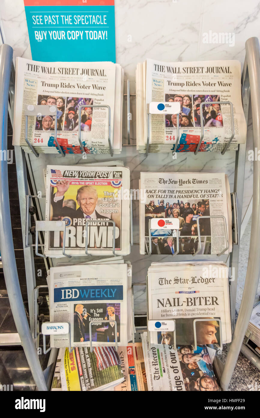 Newspaper headlines show that Donald J. Trump won Presidential Election, November  9, 2016 - Democracy in action - Stock Image