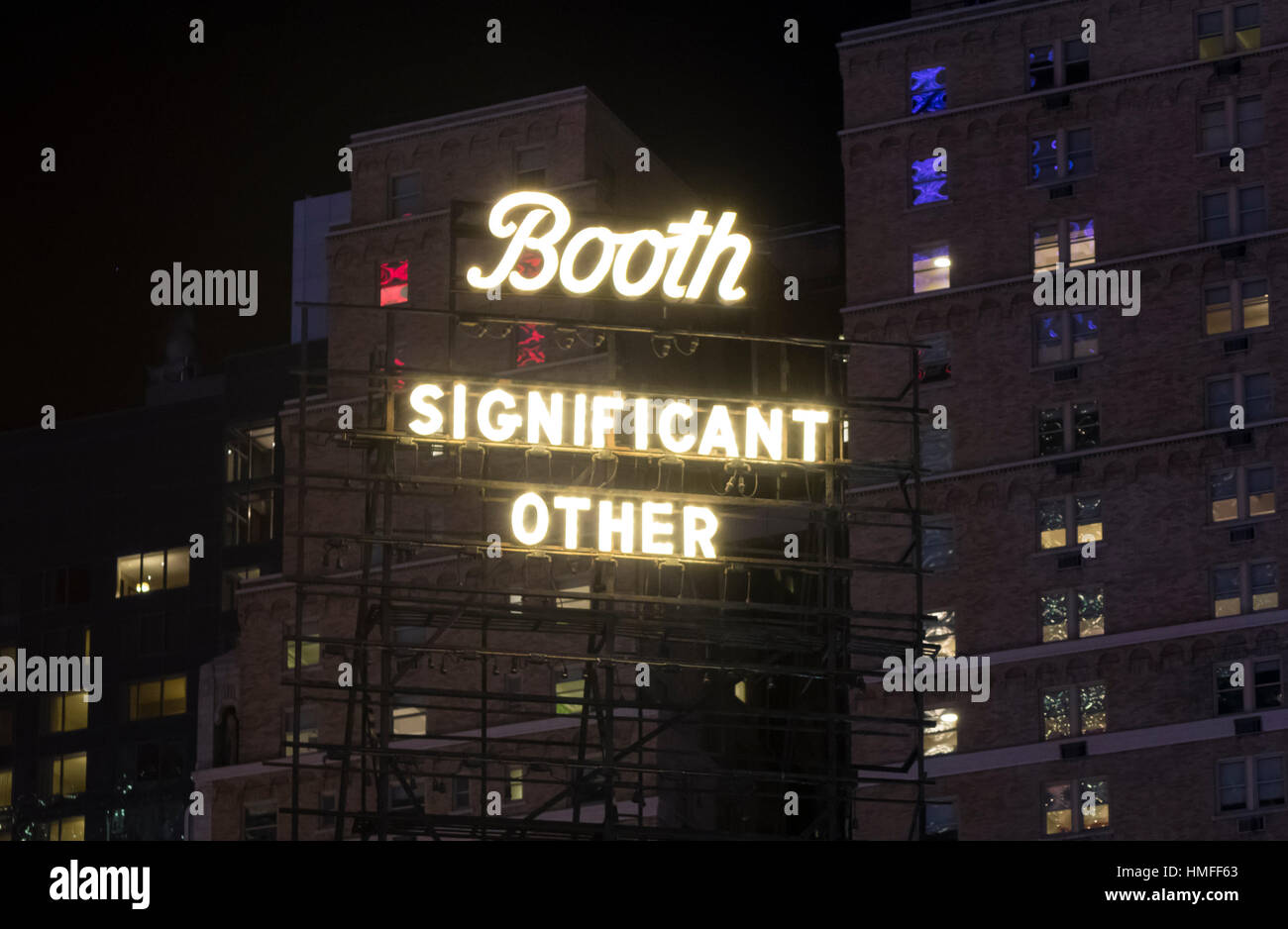 Neon sign for the play Significant Other at the Booth Theatre in New York City - Stock Image